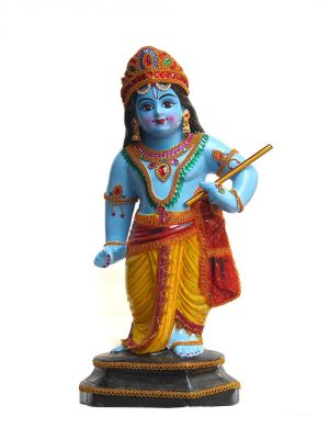 Krishna idol in vithoba pose
